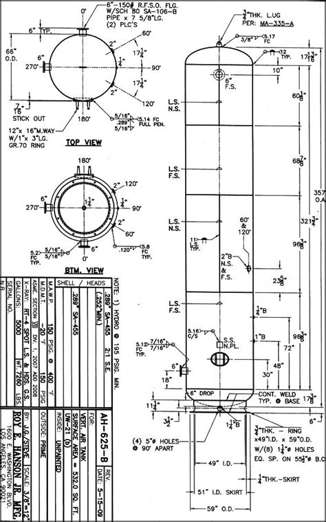 5000 gallon Vertical Air Tank 150 psig, ASME - Drawing AH
