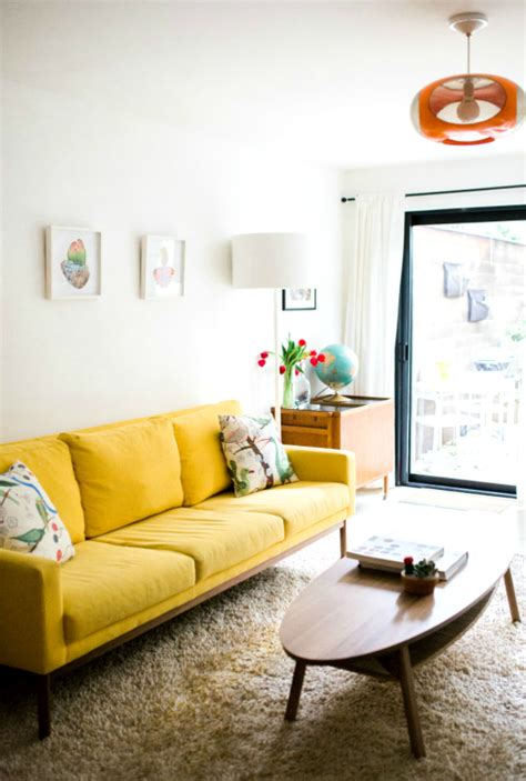 wonderful living room ideas   yellow sofa