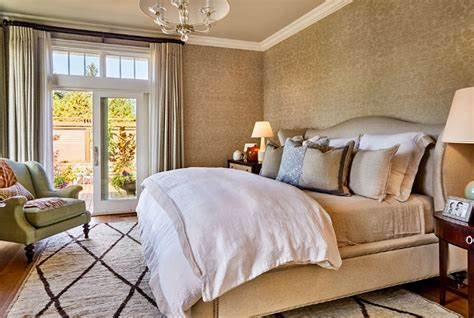 wallpaper in master bedroom beautiful family home with traditional interiors home 17773 | Damasc Wallpaper Ideas. Master Bedroom with Thibaut Curtis Linen Damask Wallpaper Metallic Gold on Natural Thibaut CurtisLinenDamaskWallpaper Metallic Gold Natural Wallcovering MasterBedroom Damasc