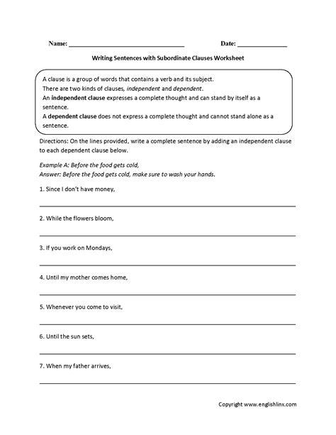 writing sentences  subordinate clauses worksheet