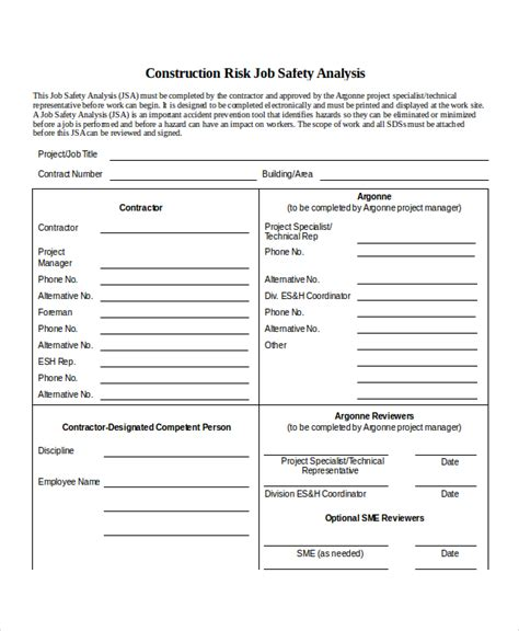 jsa template 10 safety analysis free sle exle format free premium templates