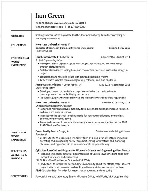 Exles Of Additional Skills For A Resume by Exle Resumes Engineering Career Services Iowa State