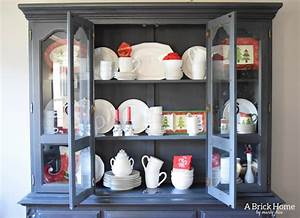 christmas hutch display classic traditional o a brick home With what kind of paint to use on kitchen cabinets for red tealight candle holders