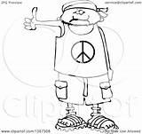 Cartoon Wearing Shirt Peace Shorts Outline Human Bandana Clipart Sandals Male Hitchhiker Drawing Illustration Royalty Lineart Vector Djart Cox Dennis sketch template