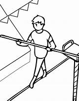 Tightrope Coloring Pages Acrobat Walking Walker Sheets Circus Clifford Getcolorings Template Library Clipart sketch template