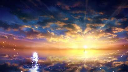 Anime Sunset Sky Landscape Clouds Wallpapers Backgrounds