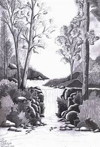 Drawn waterfall forest - Pencil and in color drawn ...