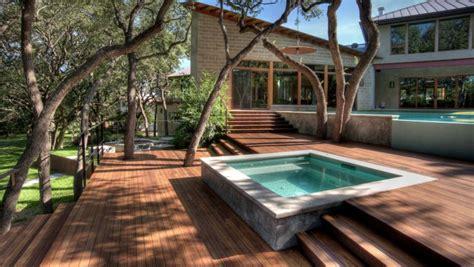 square hot tub  built  slatted deck providing