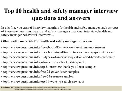 top  health  safety manager interview questions