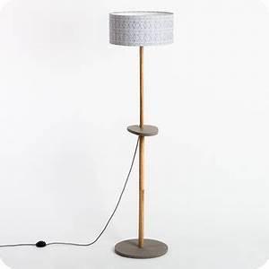 Pied Lampadaire Bois : lampadaire design en bois naturel et medium gris b ton avec abat jour en tissu g om trique eos ~ Teatrodelosmanantiales.com Idées de Décoration
