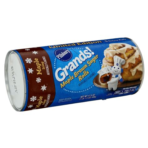 Enriched bleached flour (wheat flour, niacin, iron, thiamin mononitrate, riboflavin, folic acid), maltitol, leavening (baking soda, calcium phosphate, sodium aluminum phosphate), contains 2% or less of: Pillsbury Grands! Maple Brown Sugar Rolls - Shop Biscuit & Cookie Dough at H-E-B