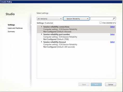 session reliability policy settings