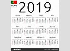 Calendário 2019, Português, domingo — Vetor de Stock