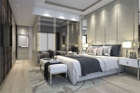 Luxury Modern Bedroom Suite In Hotel With Wardrobe 3d