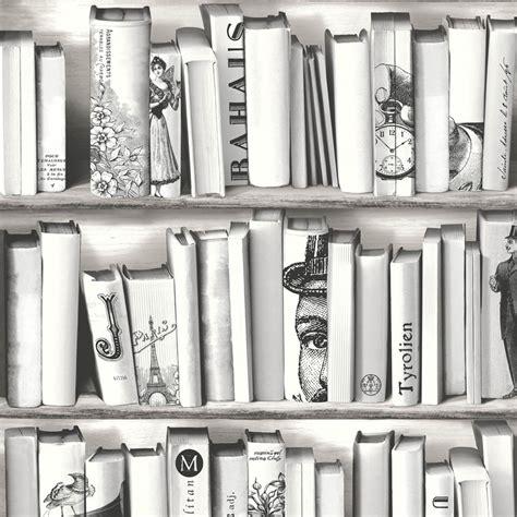 books black and white wallpaper muriva book shelf pattern library vintage white