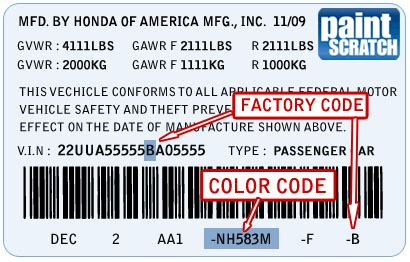 acura touch  paint color code  directions