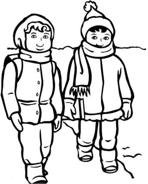 boy coloring clipart in winter clothes clipart 22