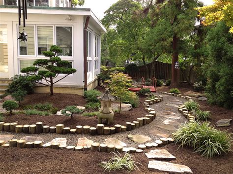 design yard lawn garden charming backyard landscaping decorated a small tree rocks and ornamental plants