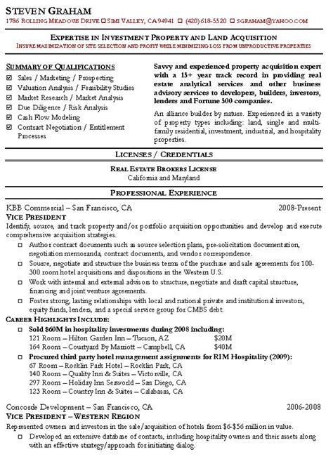 Portfolio Risk Management Resume by Property Acquisition Resume Sle Real Estate Resumes