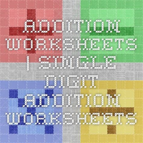 addition worksheets single digit addition worksheets