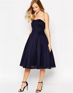 lyst asos super full mesh bandeau midi prom dress in blue With robes cocktail pour mariage