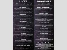 Nekter Juice Bar Menu, Menu for Nekter Juice Bar