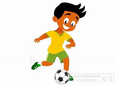 Kicking Soccer Football Clipart Boy Clip Player