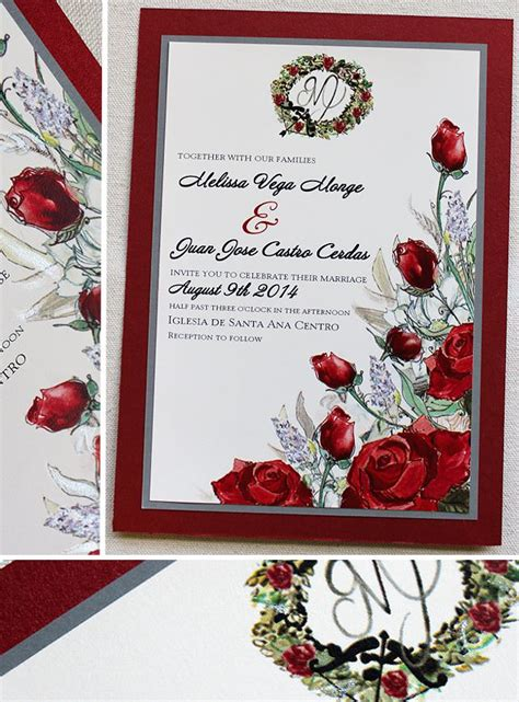 juan  red white  silver rose bouquet wedding