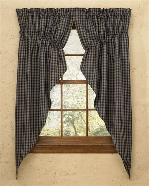 Navy Sturbridge Lined Gathered Window Curtain Swags