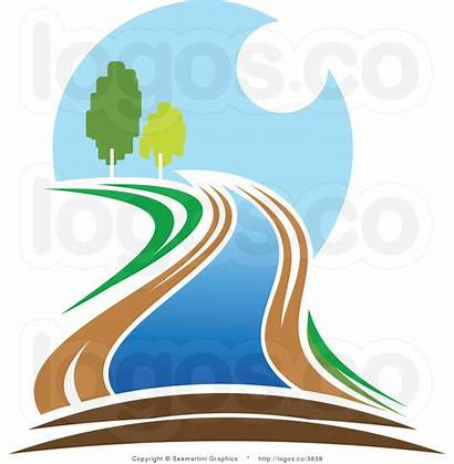 River Flowing Clipart Clip Creek Flow Waterfall