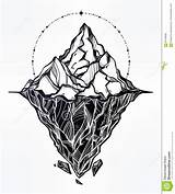 Iceberg Drawing Ice Vector Tattoo Mountains Glacier Drawn Adventure Peak Sacred Geometry Elements Isolated Sky Travel Hidden Underwater Coloring Redbubble sketch template