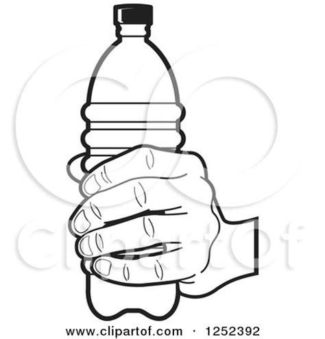 black  white hand holding  water bottle posters art