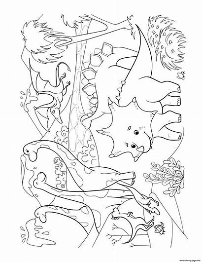 Coloring Scene Dinosaurs Dinosaur Prehistoric Lots Pages