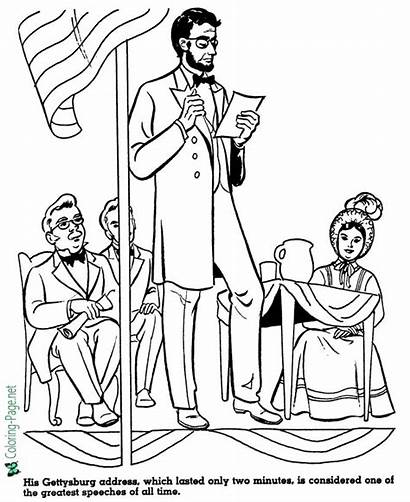 Coloring Pages Gettysburg Address History American Lincoln