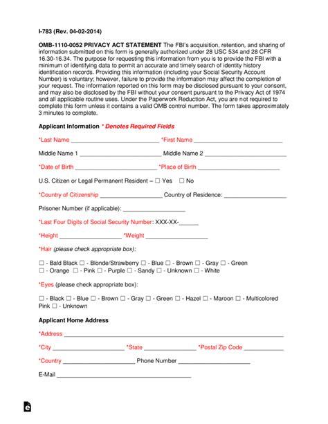 criminal legal forms fbi criminal background check form form i 783 eforms