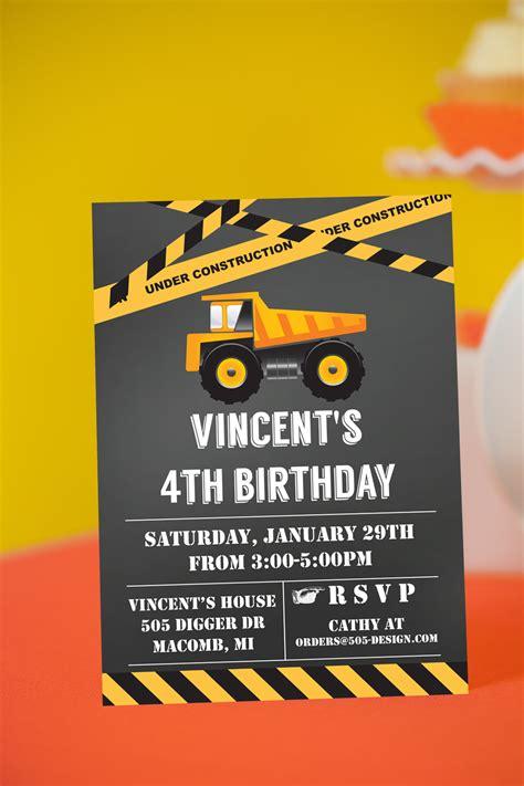 Construction Party Invitation Chalkboard Construction
