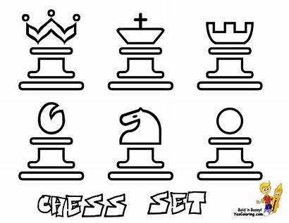 Coloring Pages Chess Pieces Modern Sets Board