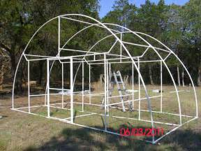 """Pictures of a """"build it yourself"""" PVC Dome Greenhouse"""