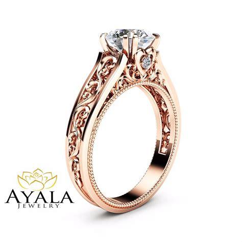 14k rose gold moissanite engagement ring milgrain design ring vintage ring ebay