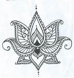 Henna Muster Schablone : lotus temporary tatto with paisley henna style petals hand drawn illustration zeichnungen ~ Frokenaadalensverden.com Haus und Dekorationen