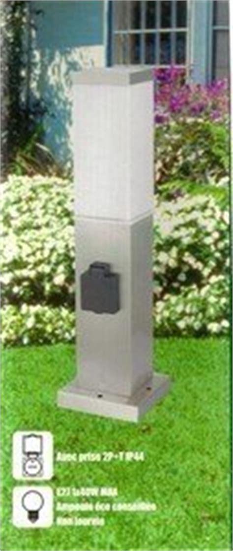 borne electrique en inox avec prise electrique etanche luminaire de jardin potelet le