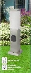 borne electrique en inox avec prise electrique etanche With lampe exterieur avec prise de courant