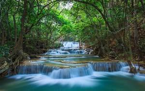 Green, Nature, River, Cascade, Waterfall, Kanchanaburi, Thailand, Desktop, Hd, Wallpaper, For, Pc, Tablet
