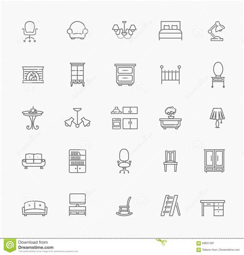 home decor line furniture and home decor icon set vector illustration
