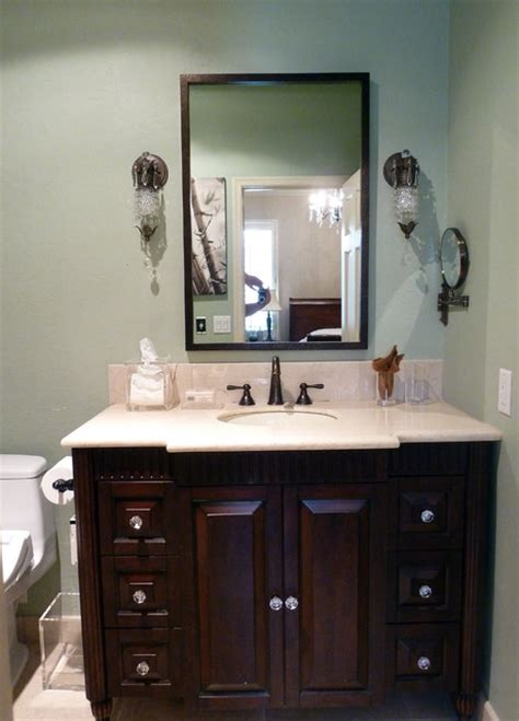 Furniture style vanity with crystal knobs
