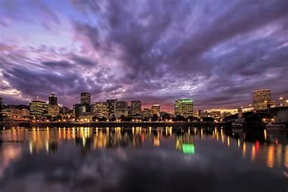 Portland Wallpapers Oregon Downtown Skyline Sunset Waterfront