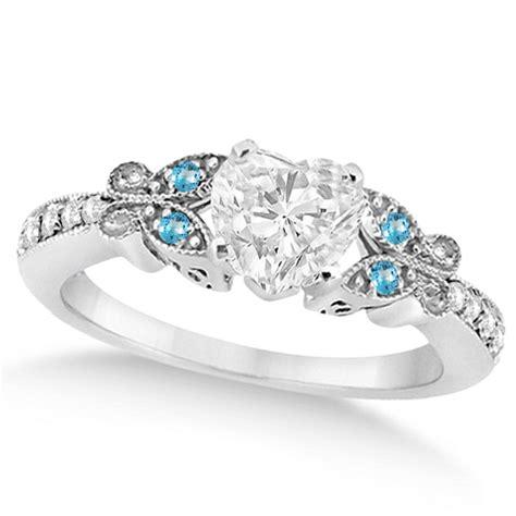Heart Diamond & Blue Topaz Butterfly Engagement Ring 14k W