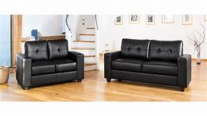 Modern black leather sofa set homegenies for Black leather sectional sofa uk