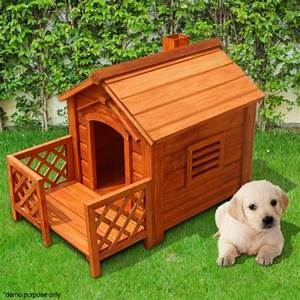 Indoor outdoor wooden dog kennel house with porch fir wood for Wooden indoor dog pen