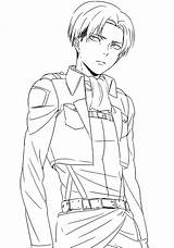 Levi Ackerman Coloring Anime Printable Drawing sketch template